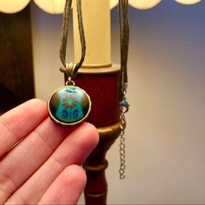 Blue flower boho necklace